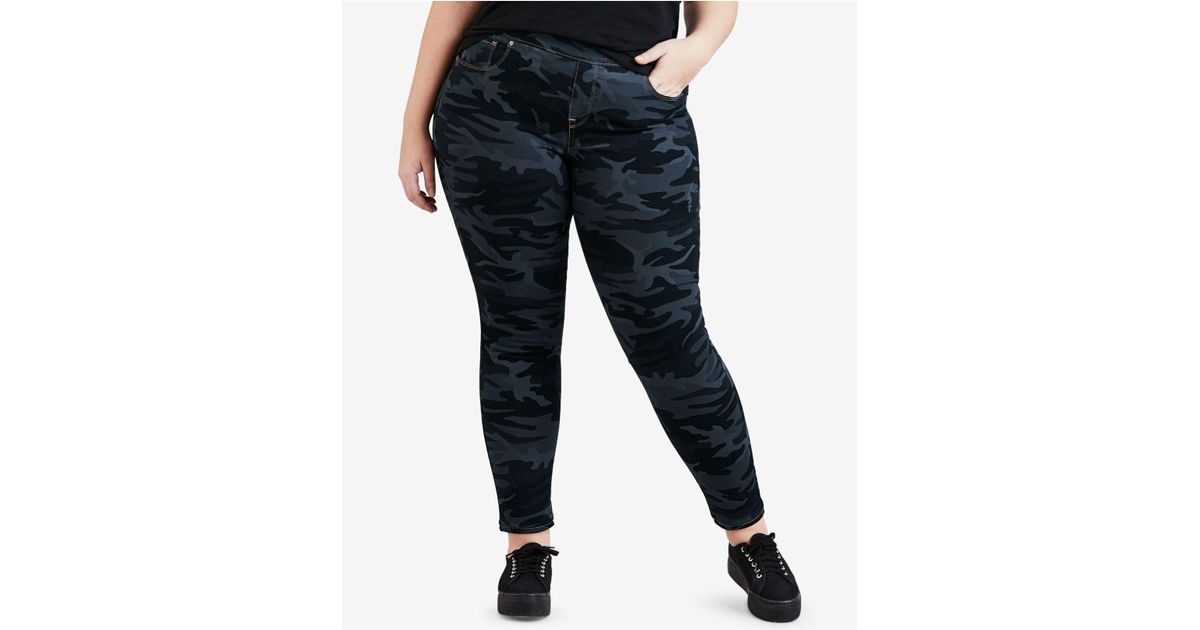 cb2ce62e Lyst - Levi's ® Plus Size Camo-print Pull-on Skinny Jeans in Blue - Save 34%