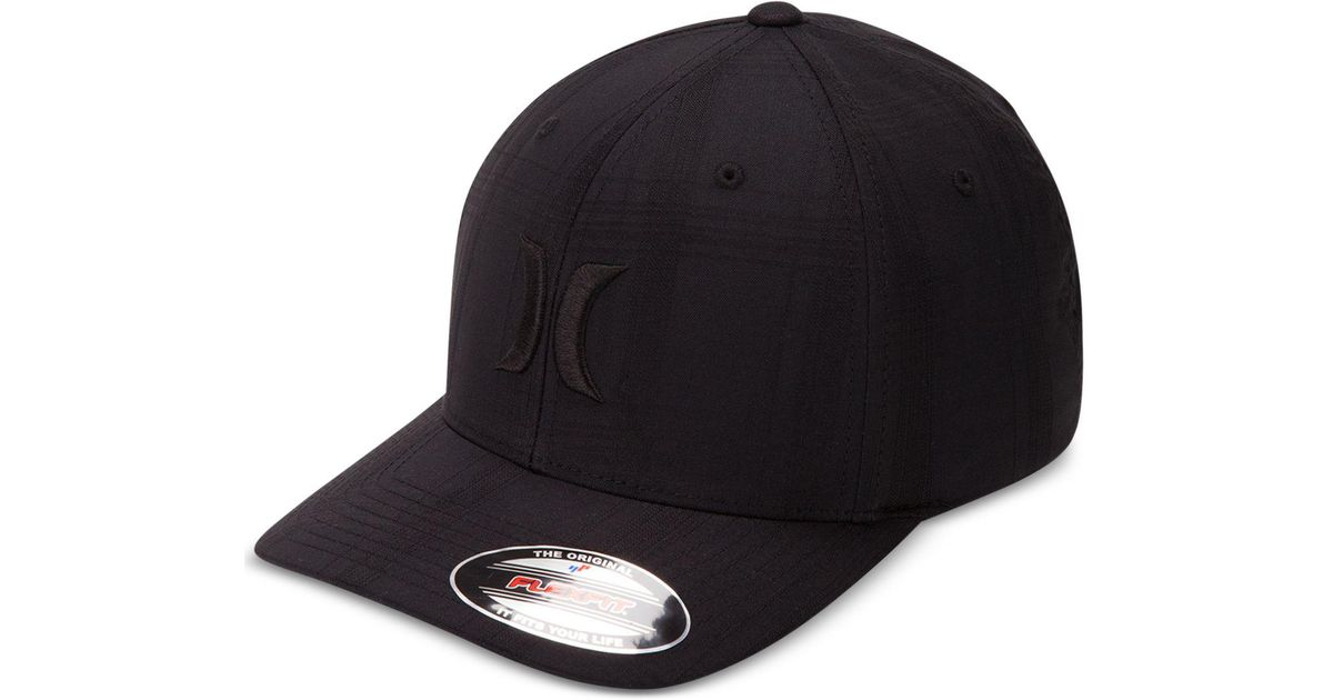 76a2ed9f554f3 Hurley Men s Textured Plaid Embroidered-logo Flexfit Hat in Black for Men -  Save 20% - Lyst