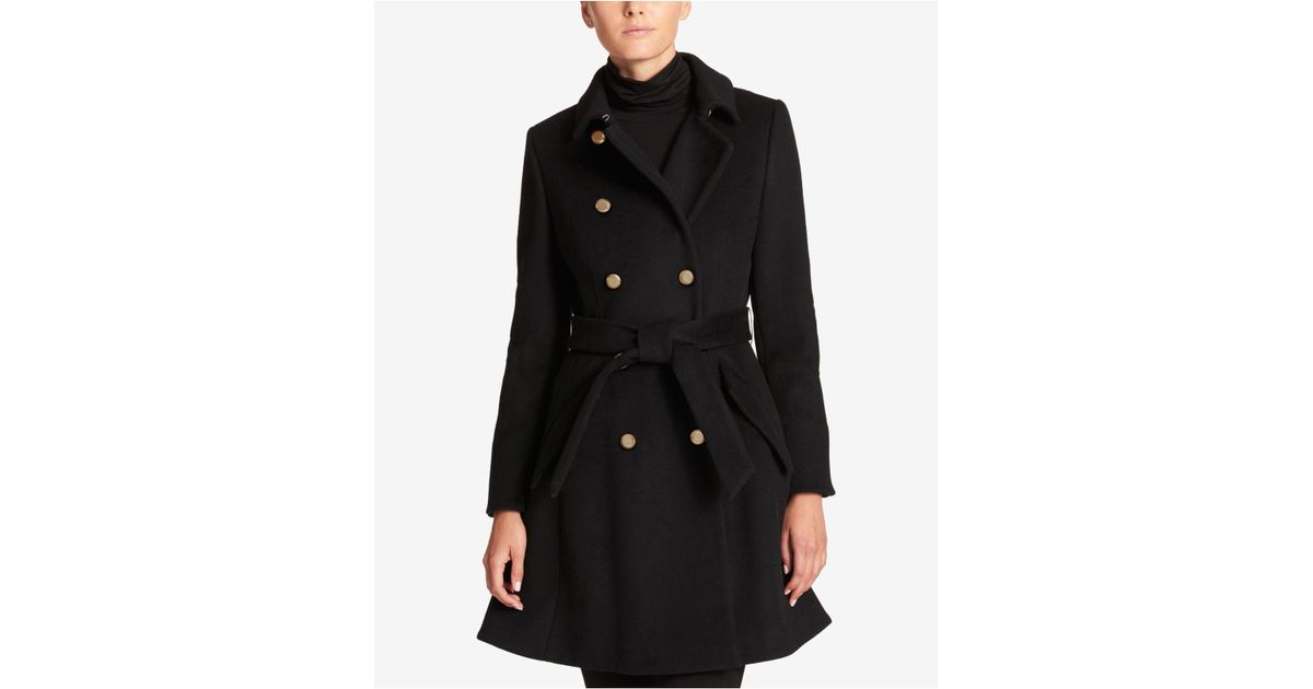 c2b2ae1accb3f Lyst - DKNY Wool-blend Belted Fit   Flare Peacoat in Black