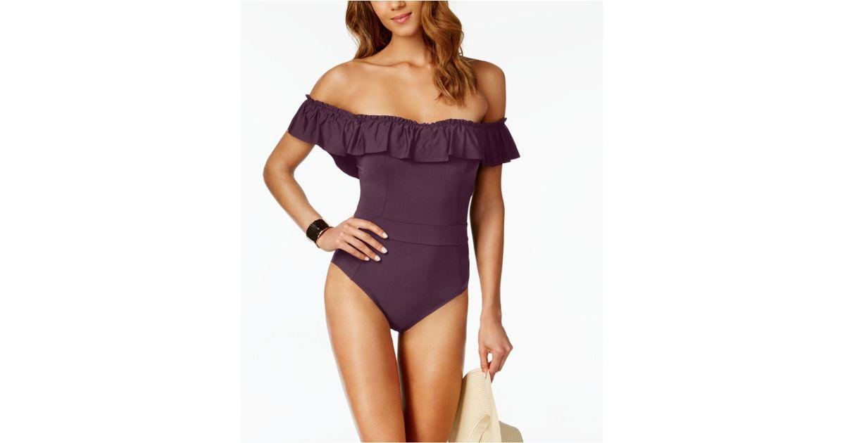 408f7fd0826 Lyst - Bleu Rod Beattie Off-the-shoulder One-piece Swimsuit in Purple