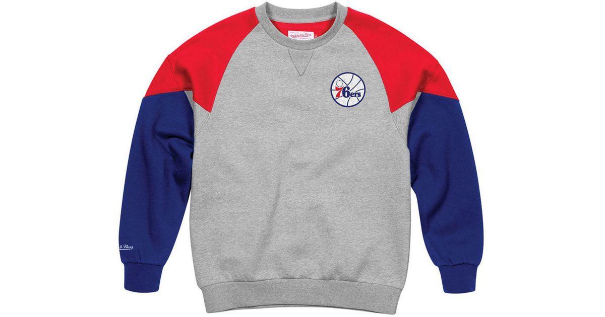c6081755b32 Lyst - Mitchell   Ness Philadelphia 76ers Trading Block Crew Sweatshirt for  Men