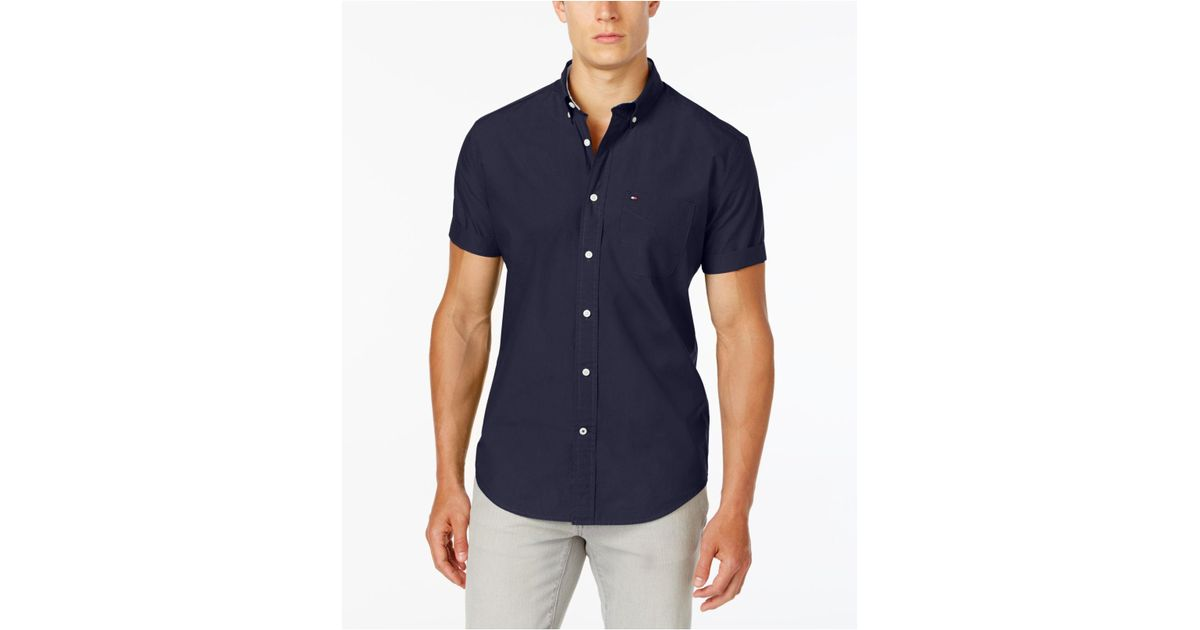 963775f37 Lyst - Tommy Hilfiger Maxwell Short-sleeve Button-down Shirt in Blue for Men  - Save 29%