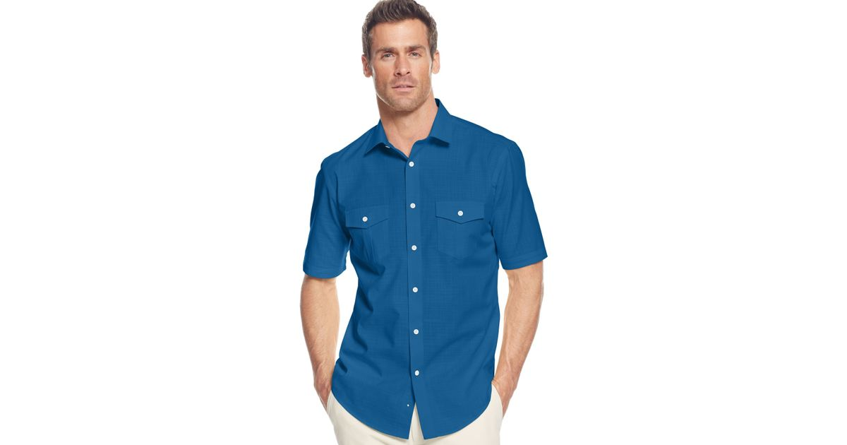 Alfani big and tall short sleeve warren shirt in for Mens 2xlt short sleeve shirts