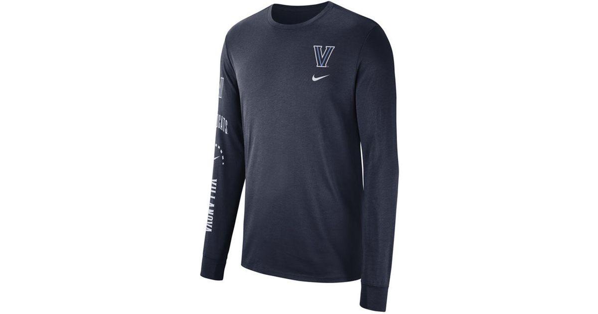 26eec2f5312e Lyst - Nike Villanova Wildcats Long Sleeve Basketball T-shirt in Blue for  Men