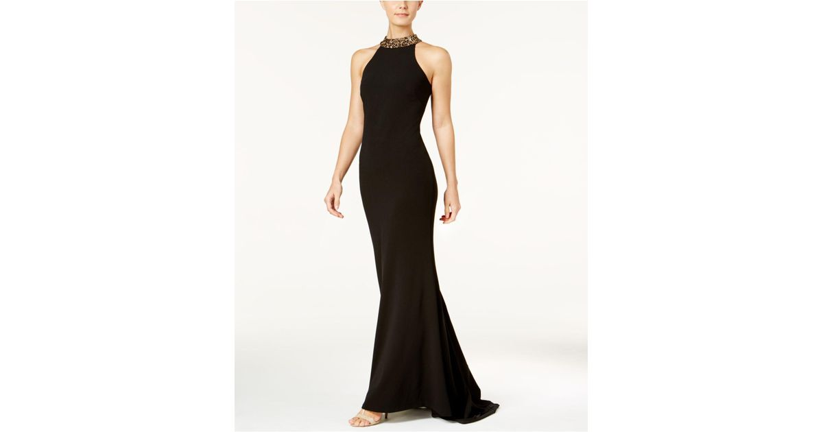 Lyst Calvin Klein 205w39nyc Embellished Crepe Halter Gown In Black