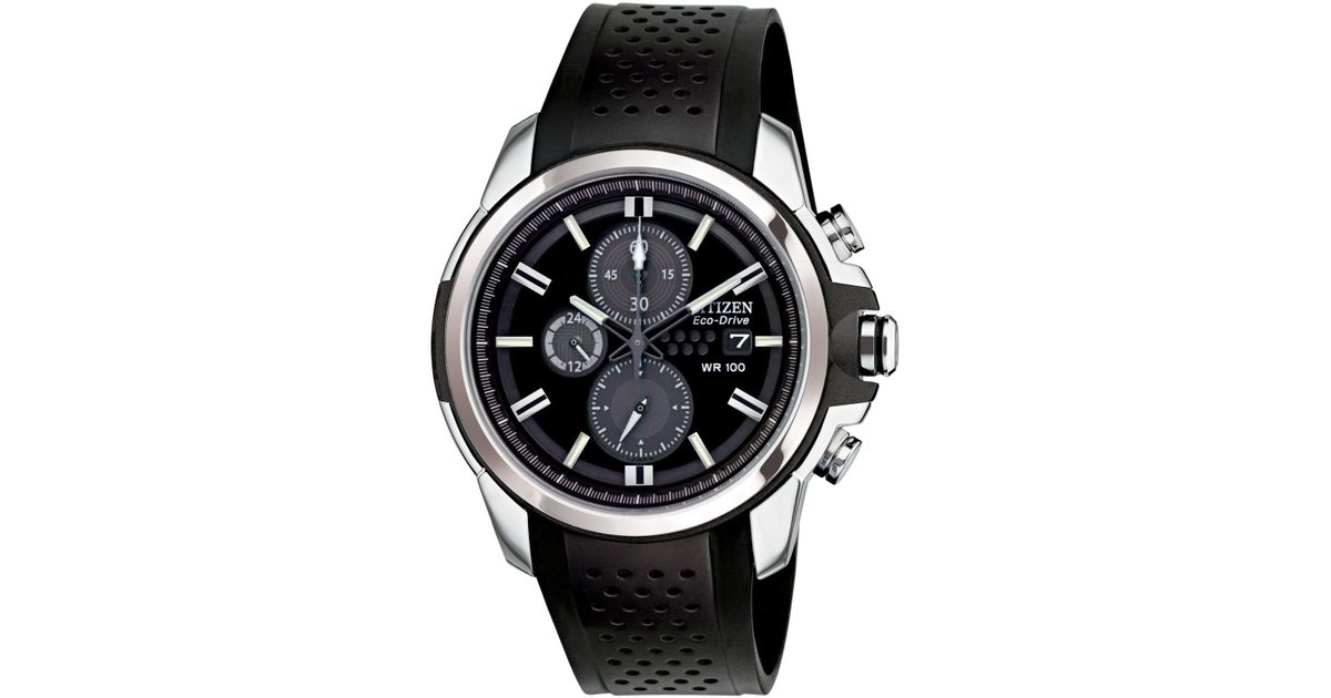 daa1c3d28 Citizen Men's Chronograph Drive From Eco-drive Black Rubber Strap Watch45mm  Ca0420-07e in