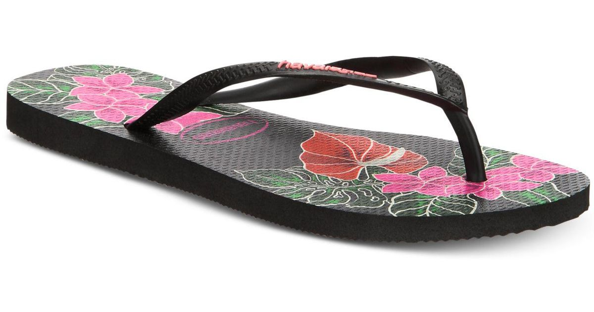 ddfadcb79de3 Lyst - Havaianas Slim Floral Flip Flops in Black