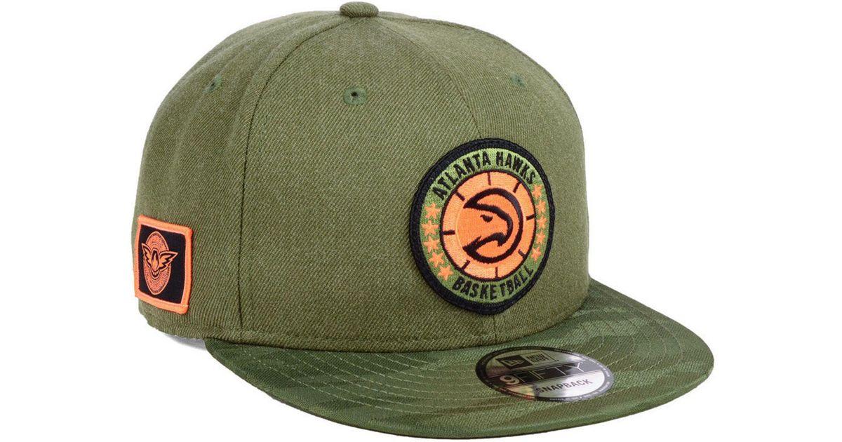 size 40 e011d f37c8 Lyst - KTZ Atlanta Hawks Tip Off 9fifty Snapback Cap in Green for Men