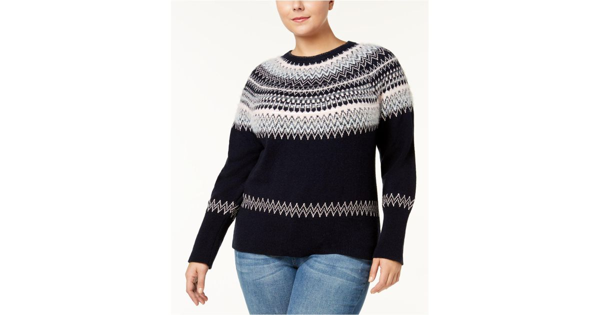 Tommy hilfiger Plus Size Fair Isle Sweater | Lyst