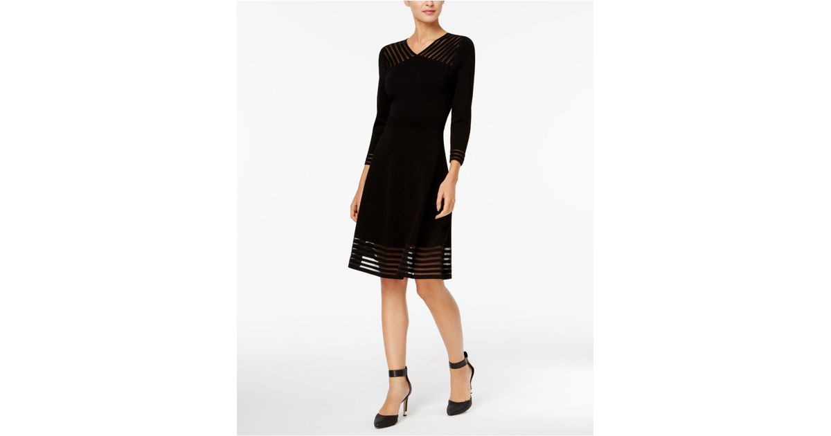 087554bc0b7 Calvin Klein Illusion-stripe Fit   Flare Sweater Dress in Black - Lyst