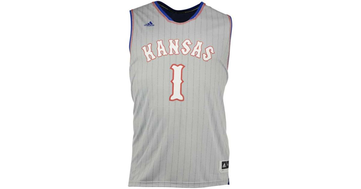 e1dc9b3bd44 Lyst - Adidas  1 Kansas Jayhawks Replica Pride Basketball Big   Tall Jersey  in Gray for Men