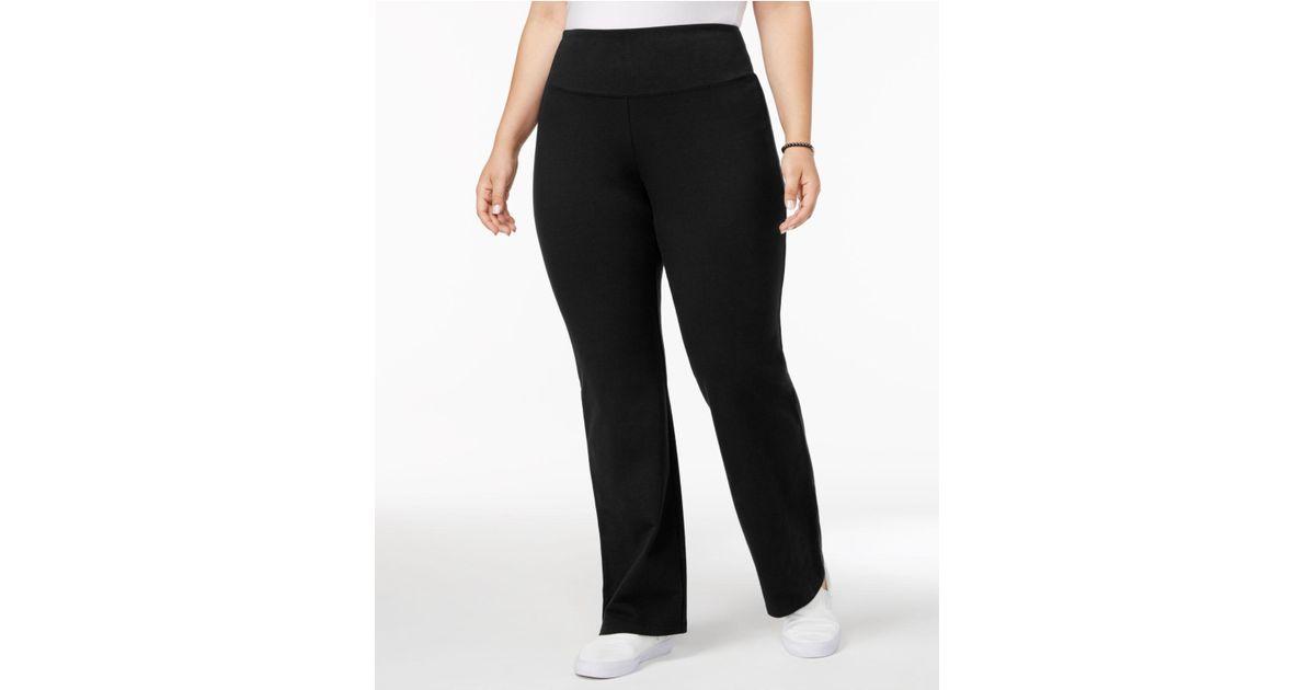ba2abea98 Lyst - Style   Co. Plus Size Tummy-control Boot-cut Yoga Pants in Black