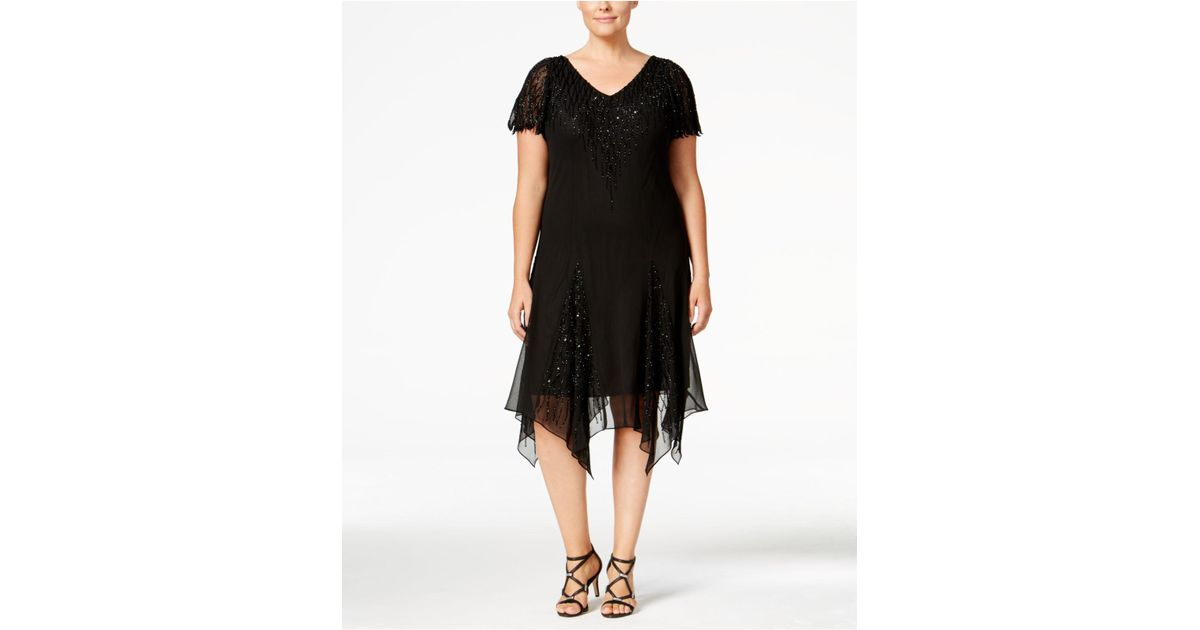 Lyst - J Kara Plus Size Handkerchief Hem Sparkle Dress in Black