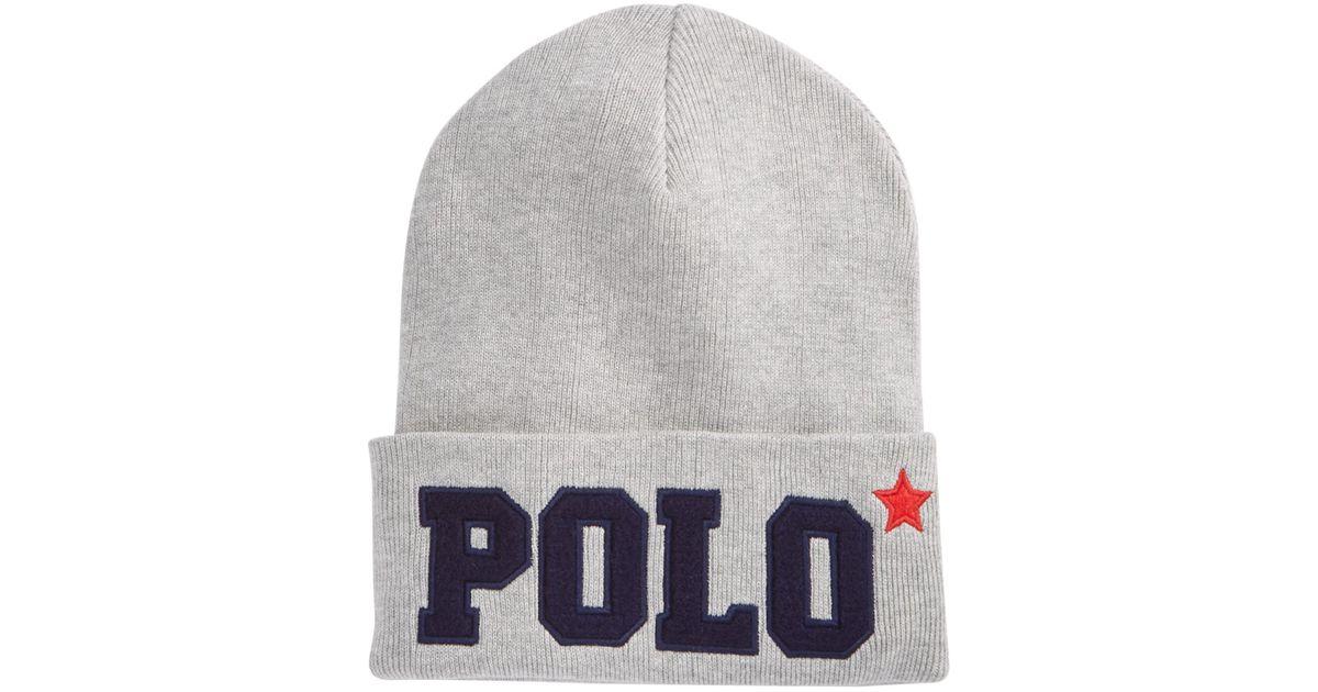 cf58b5568 Polo Ralph Lauren - Gray Varsity Knit Hat - Lyst