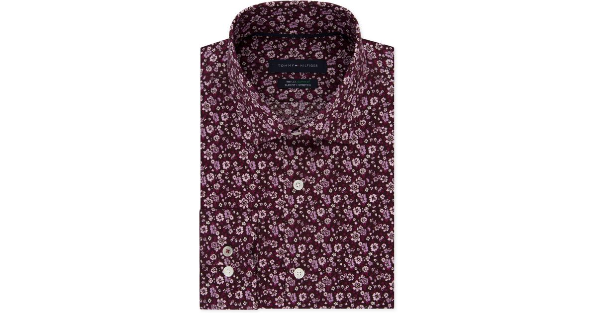 5faa91214 Lyst - Tommy Hilfiger Slim-fit Th Flex Non-iron Supima Stretch Floral Dress  Shirt in Pink for Men