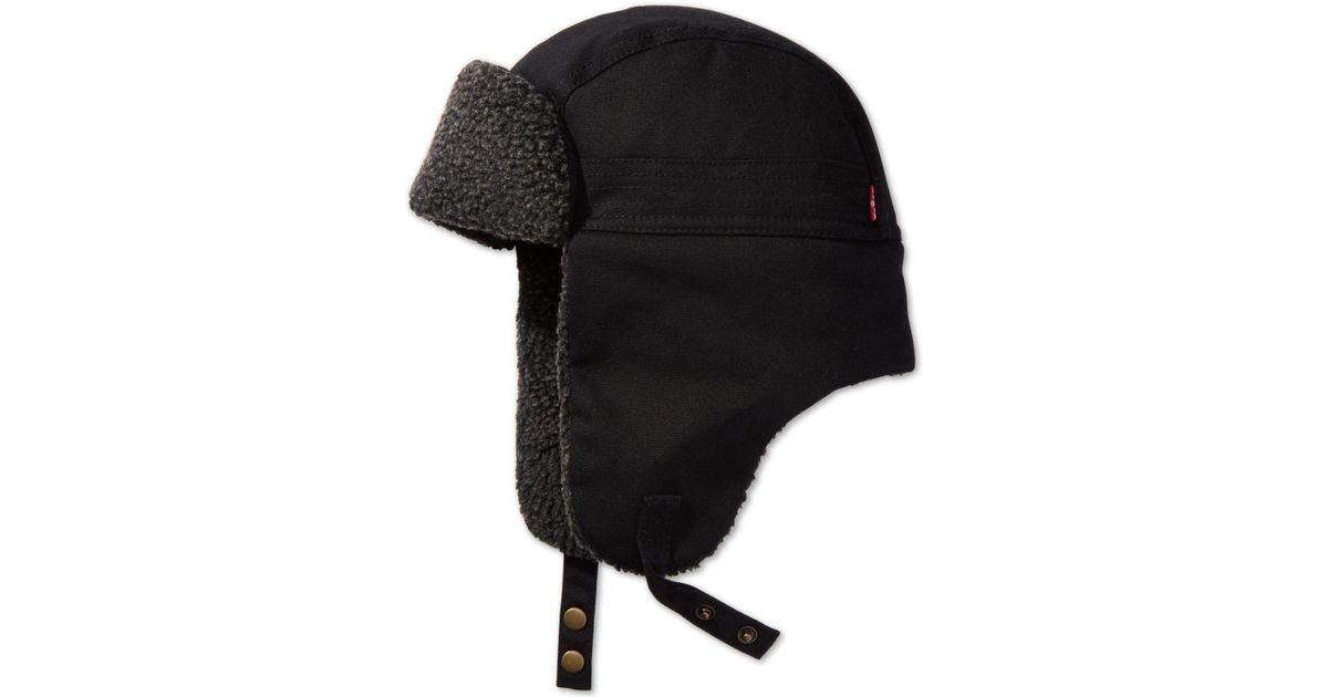 e9e7f548bcf39 Lyst - Levi s Waxed Canvas Trapper Hat in Black for Men