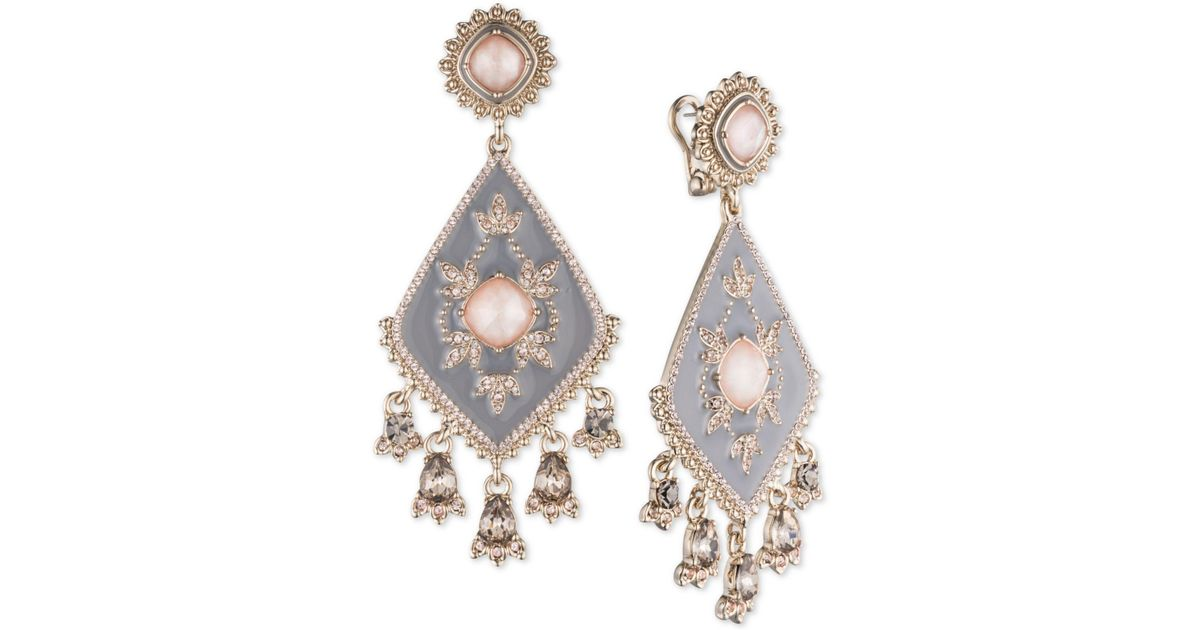 Lyst marchesa gold tone multi stone gray chandelier earrings in lyst marchesa gold tone multi stone gray chandelier earrings in metallic aloadofball Image collections