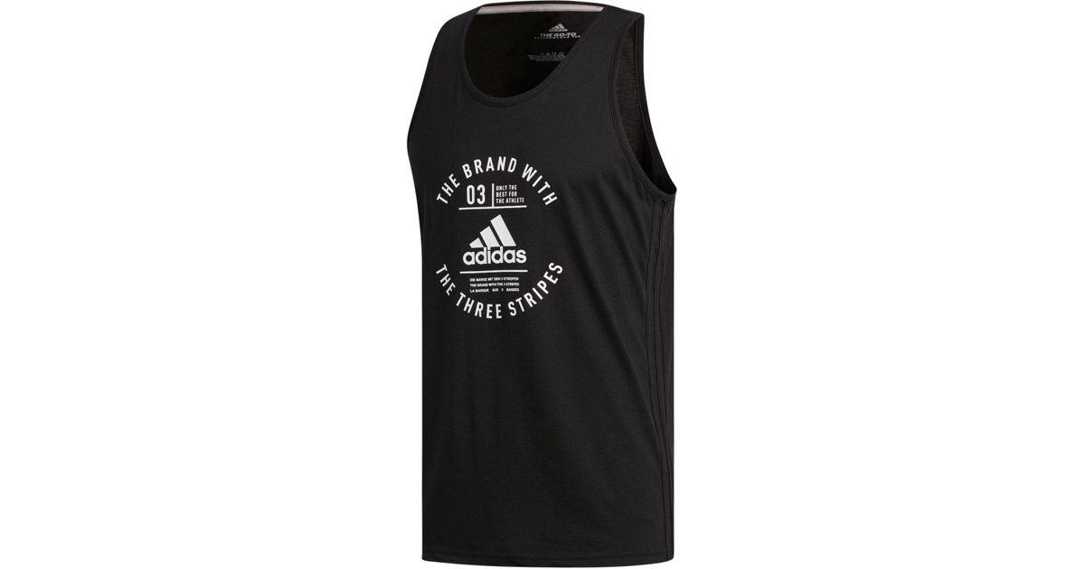 fce778686d69a Lyst - adidas Men s Three-stripe Tank Top in Black for Men - Save 17%
