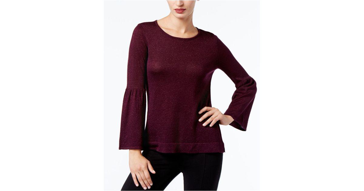 b03d2dd7a7 Calvin Klein Bell-sleeve Sweater in Purple - Lyst