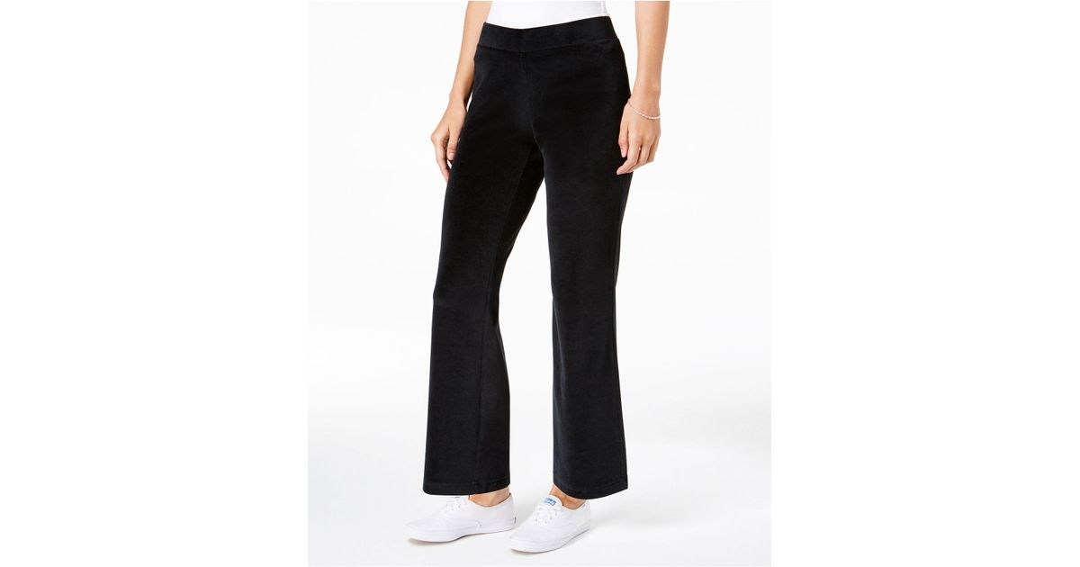 bf4a4f9b505 Lyst - Charter Club Petite Pull-on Velour Pants in Black