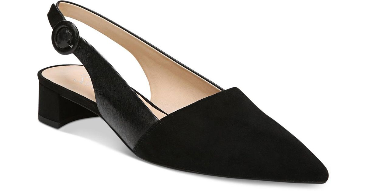 dc6f8936386 Lyst - Franco Sarto Vellez Pointed-toe Slingback Kitten Heel Pumps in Black