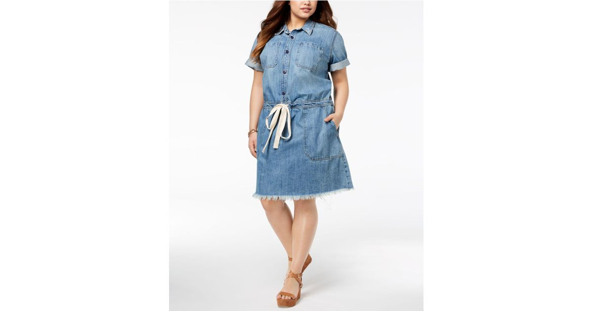 Lyst Lucky Brand Trendy Plus Size Cotton Chambray Shirtdress In Blue