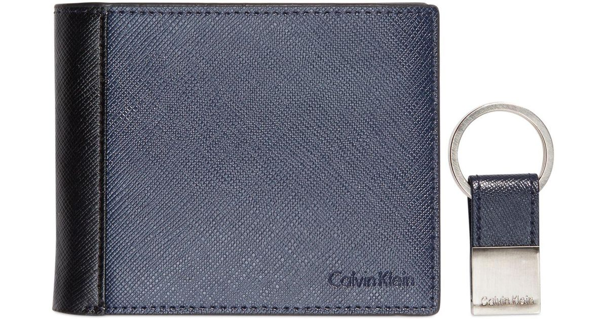 734efe6759a29 Lyst - Calvin Klein Saffiano Leather Two-tone Bifold Wallet   Key Fob in  Blue for Men