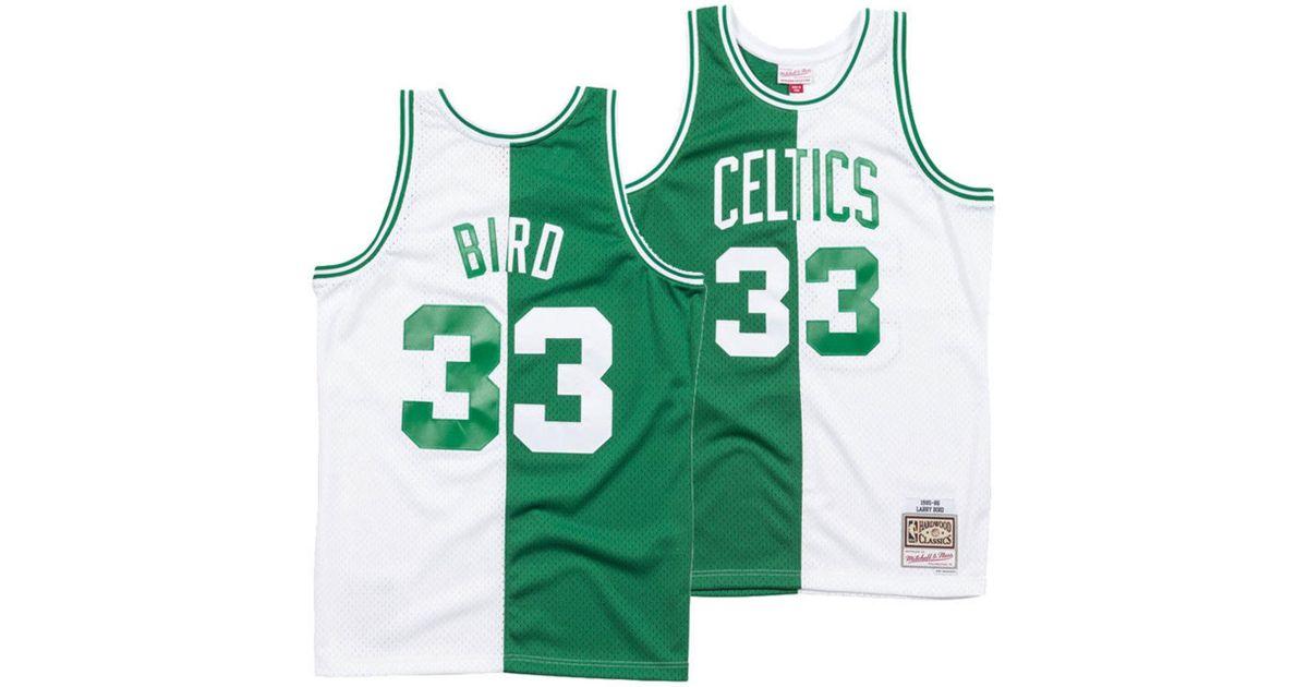 cdb6a7169 Mitchell   Ness Larry Bird Boston Celtics Split Swingman Jersey in Green  for Men - Lyst