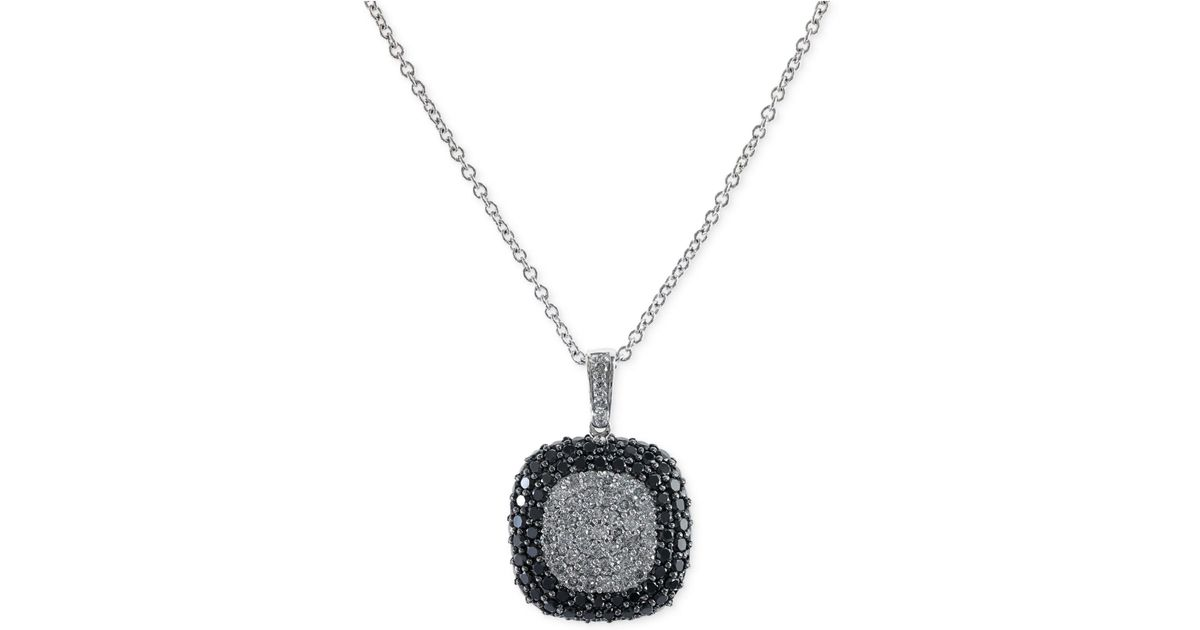 6d75e7dab335a1 Lyst - Effy Collection Effy Black And White Diamond Square Pendant Necklace  In 14k White Gold (2 Ct. T.w.) in Metallic