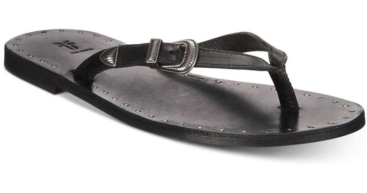 f132c6f739b016 Lyst - Frye Ally Western Flip-flop Sandals in Black