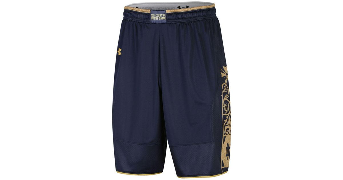 100% authentic ce001 6e71a Under Armour Notre Dame Fighting Irish Replica Basketball Shorts in Blue  for Men - Lyst
