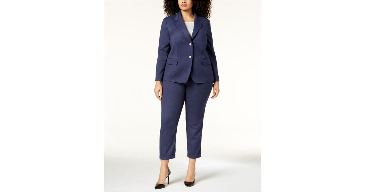 eb9518203d9 Lyst - Tahari Plus Size Two-button Denim Pantsuit in Blue