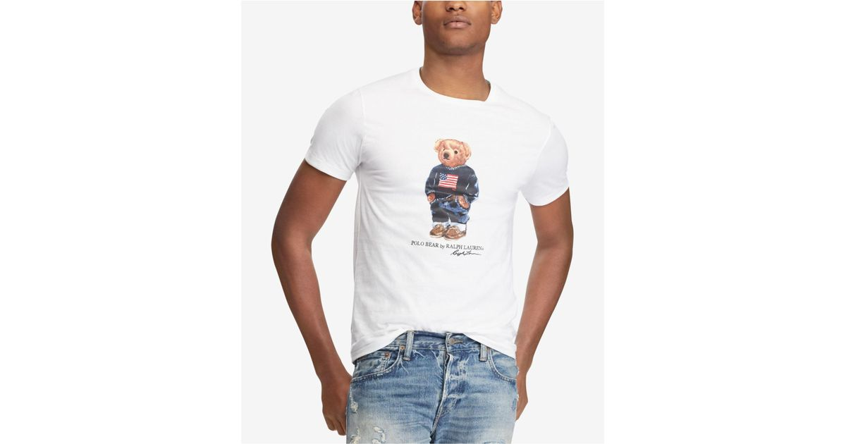 549457ff8cc14a Polo Ralph Lauren Men's Custom Slim Fit Polo Bear T-shirt in White for Men  - Lyst