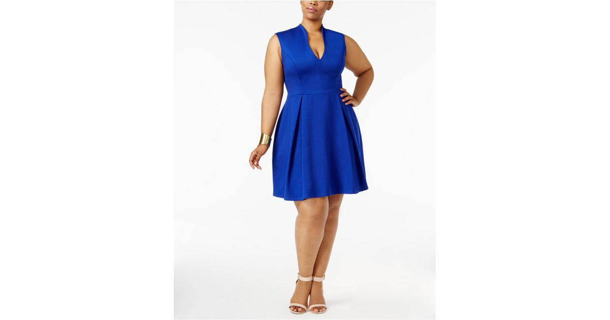 Soprano Trendy Plus Size Pleated Fit & Flare Dress in Blue - Lyst