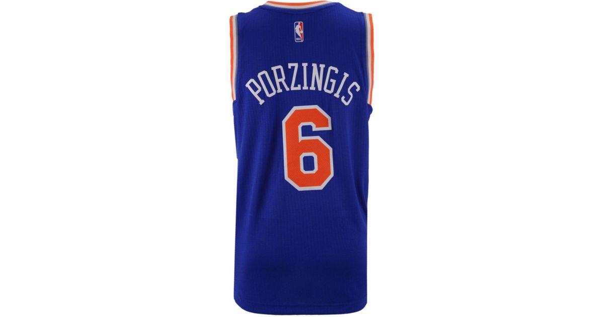 19424f44519 adidas Originals Men s Kristaps Porzingis New York Knicks Swingman Jersey  in Blue for Men - Lyst