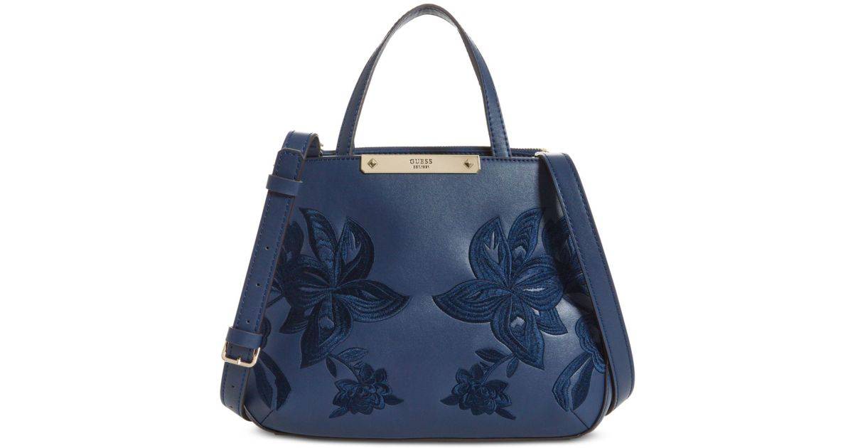4d98700ab878 Lyst - Guess Britta Society Small Satchel in Blue