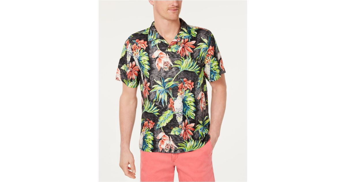 1fb25edf Tommy Bahama Tahitian Tweets Classic Fit Hawaiian Silk Camp Shirt in Black  for Men - Lyst