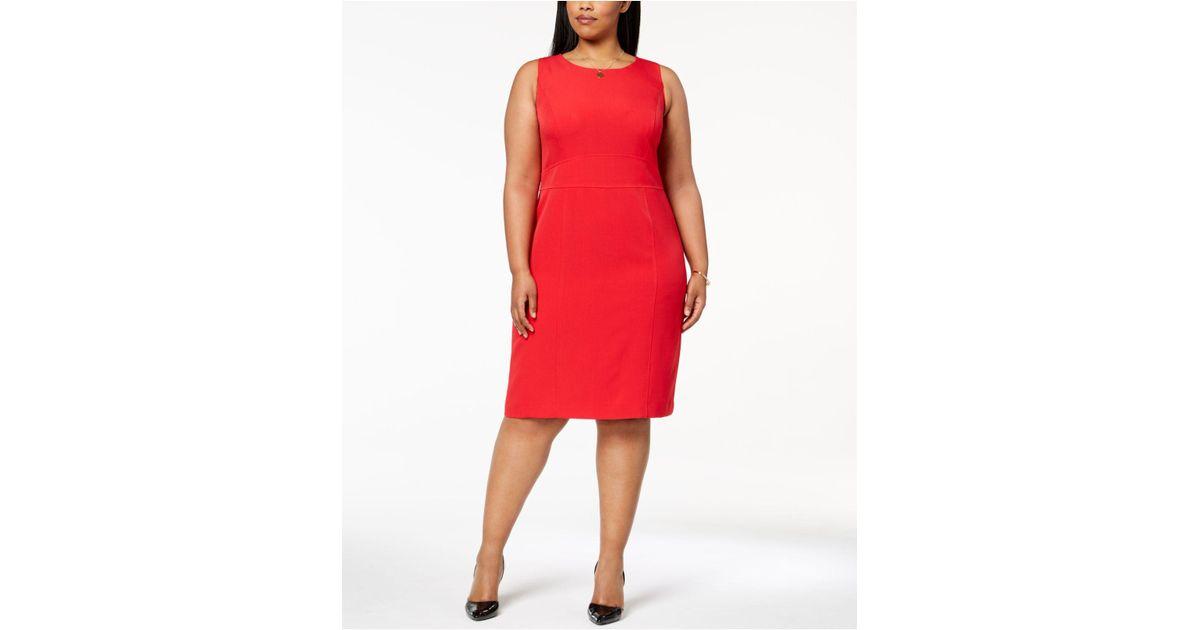 667308f7b86 Lyst - Kasper Plus Size Stretch Crepe Sheath Dress in Red