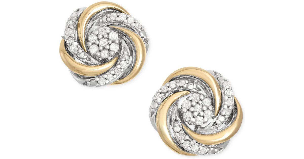 bde1ba59064e27 Macy's Diamond Swirl Stud Earrings (1/10 Ct. T.w.) In 14k Gold And Sterling  Silver in White - Lyst