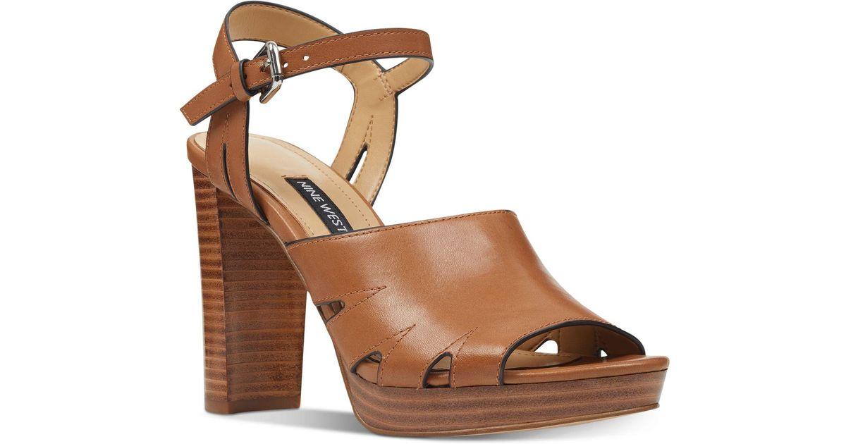 2cf3995727be Nine West Delilah Platform Sandals in Brown - Save 27% - Lyst