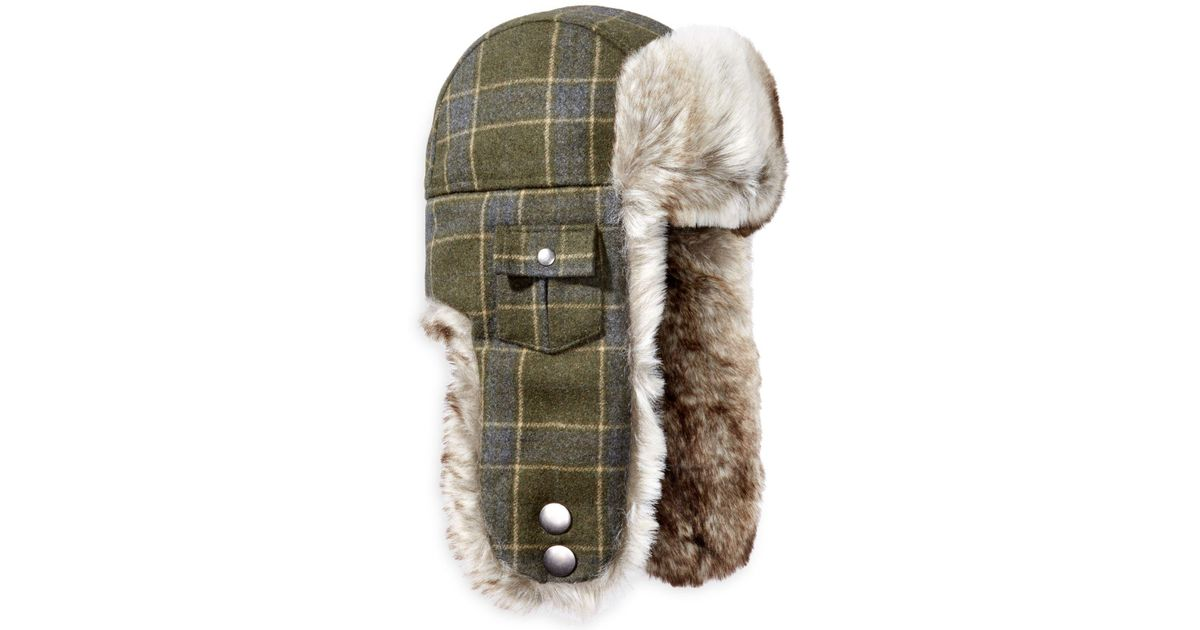 8a08ca683dc Lyst - Woolrich Plaid Arctic Trapper Hat With Faux-fur Earflaps in Green for  Men