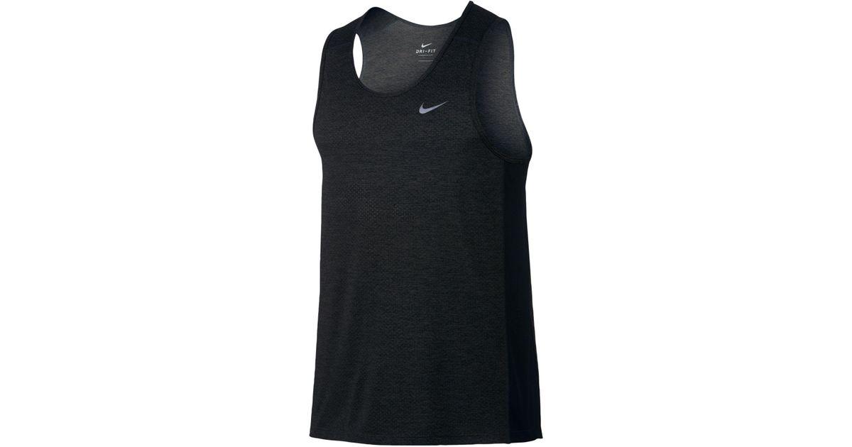 95fc1b0633bd Lyst - Nike Men s Breathe Miler Tank Top in Black for Men