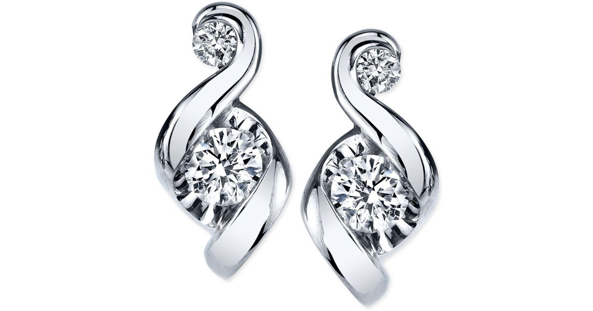 Lyst Proud Mom Diamond Swirl Stud Earrings 1 4 Ct T W In 14k Gold Or White Metallic Save 7 692307692307693