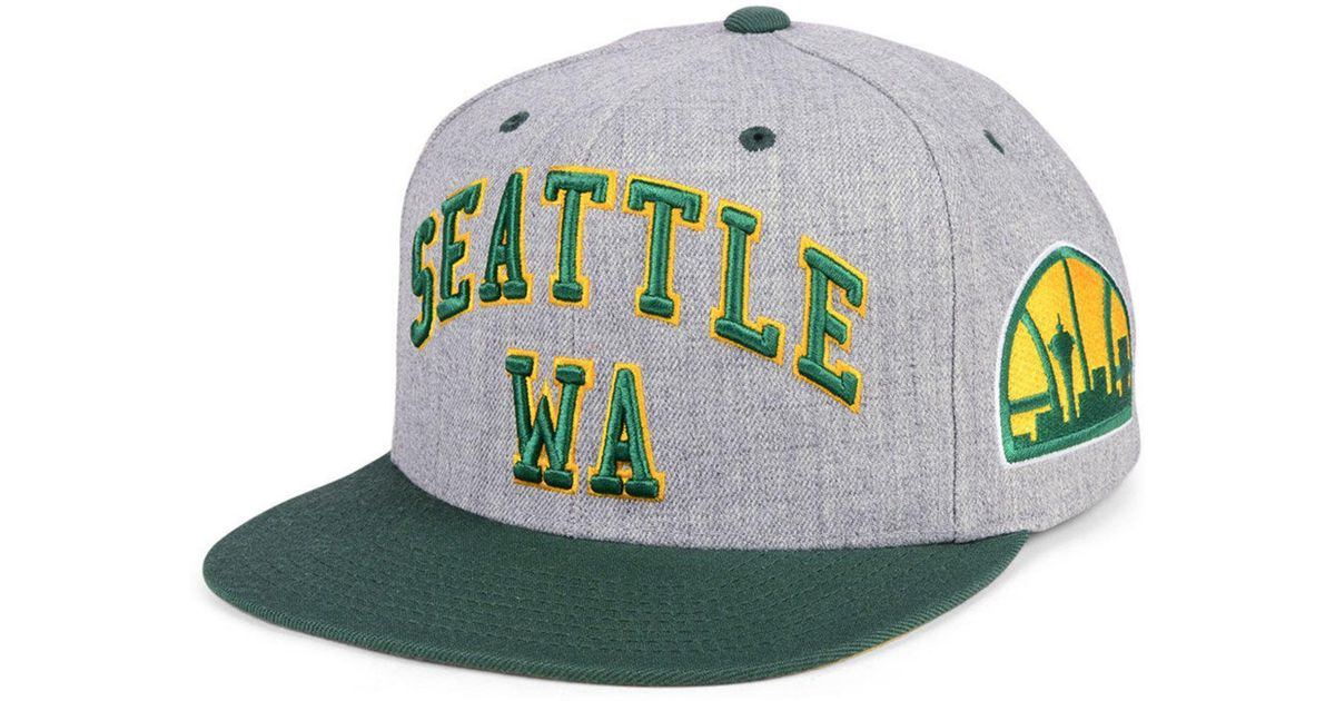 aa08c6ab526fd sweden lyst mitchell ness seattle supersonics side panel cropped snapback  cap in green for men 7dcb7