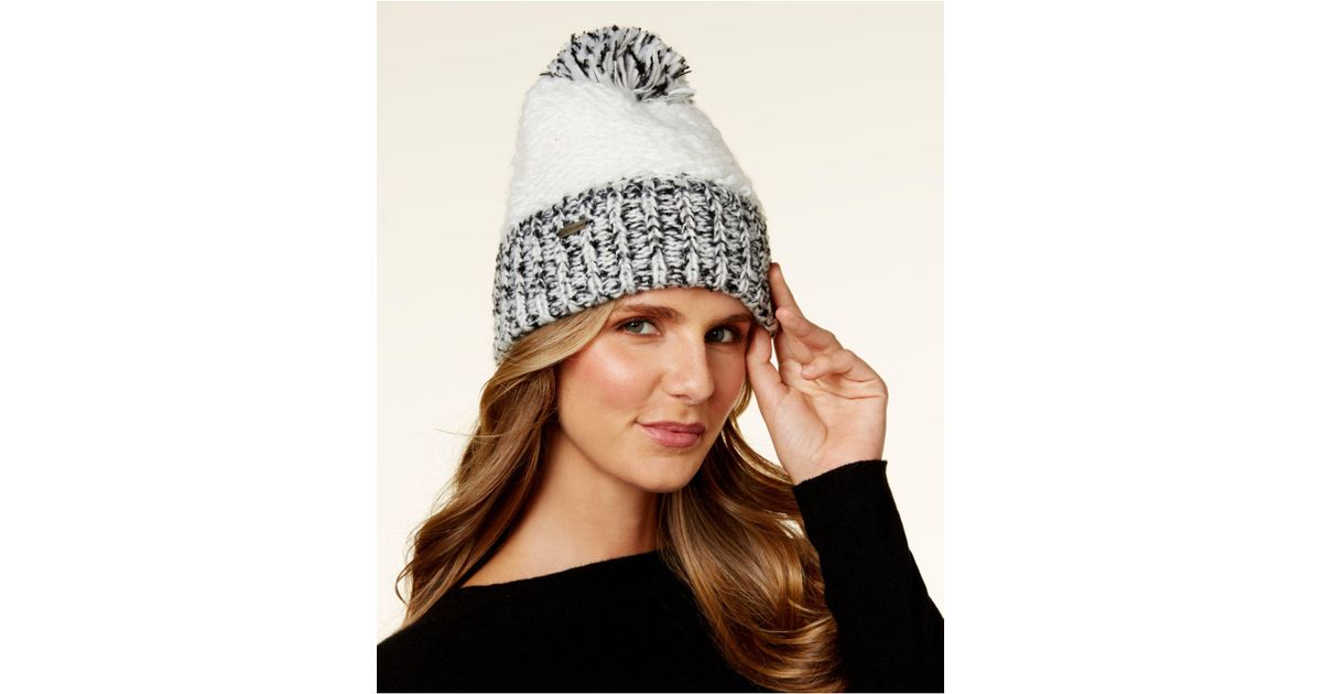 Lyst - Steve Madden Block Party Cuff Beanie in Brown ba7da837da8