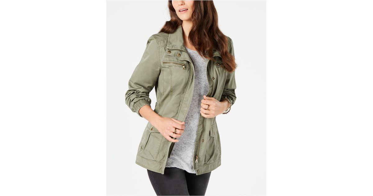 2904093645d8a Lyst - Style   Co. Cotton Cargo Zip-front Jacket