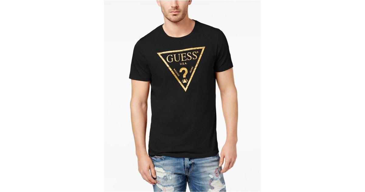 b7cbcbb86eb Guess Men's Classic Triangle Metallic Logo-print T-shirt in Black for Men -  Lyst