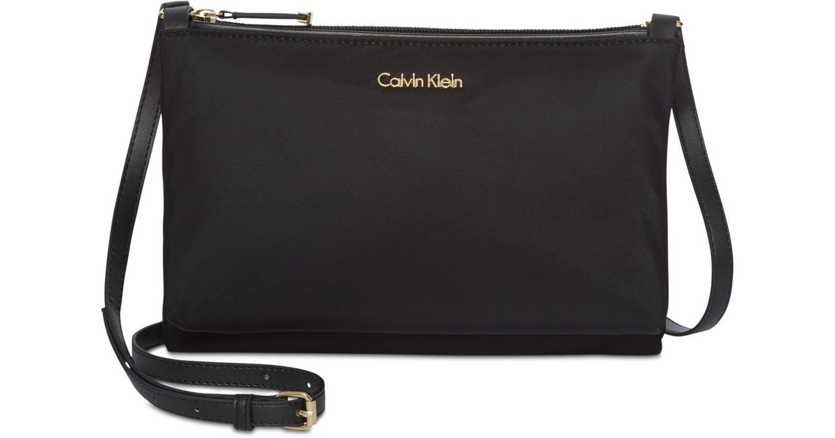 36107314d22 Calvin Klein Lucy Small Nylon Crossbody in Black - Lyst