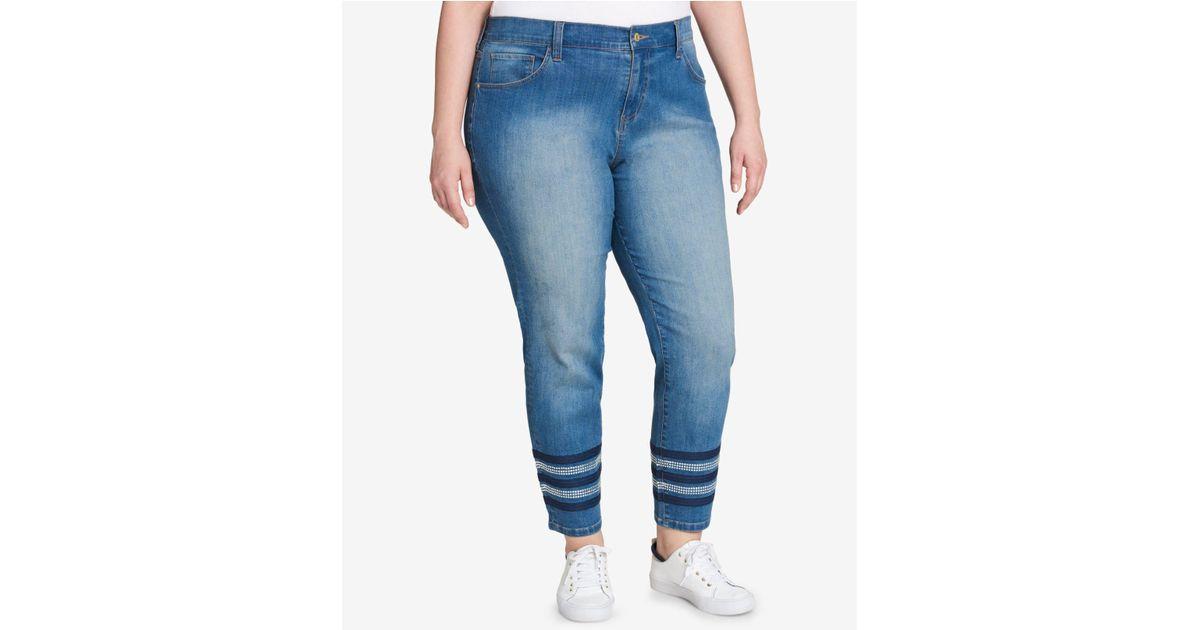 034fd547379 Lyst - Tommy Hilfiger Plus Size Greenwich Embellished Skinny Jeans in Blue