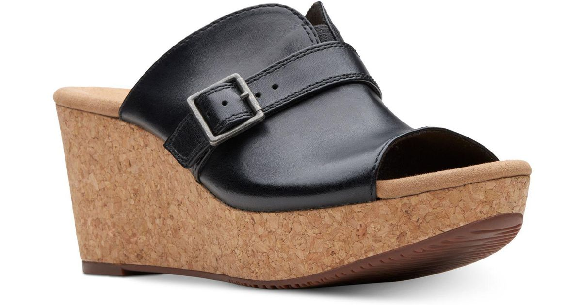 9c5e4870767 Clarks Annadel Holly Wedge Sandals in Black - Lyst
